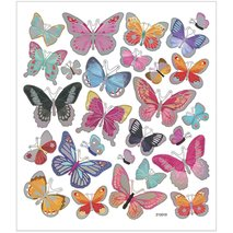 Stickers, 15x16,5 cm,   fjärilar, 1ark
