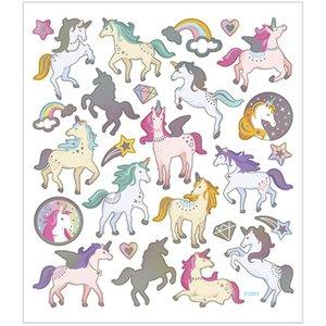 Stickers, 15x16,5 cm,  enhörningar, 1ark