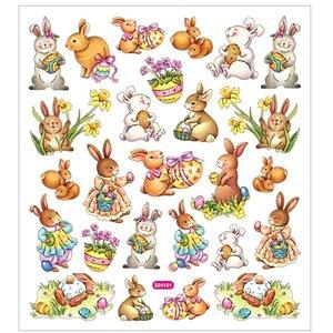 Stickers, 15x16,5 cm, påsk, 1ark