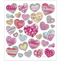 Stickers, 15x16,5 cm,  Hjärtan, 1ark