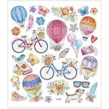 Stickers, 15x16,5 cm, cycklar och luftballonger, 1ark